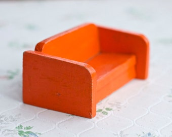 Tiny Vintage Orange Sofa - Doll's House Miniature Living Room