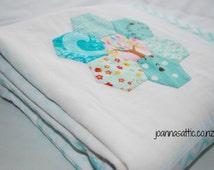 Hexagon Quilt; Handmade Baby Quilt; Baby Blanket; Modern Baby Quilt; Hexagon Flower Quilt; Minky Blanket