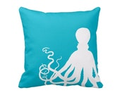 Octopus Throw Pillow or Pillow Cover Scuba Blue White Pillow Ocean Decor Beach Decor Living Room Cushion Mint Decor Bedroom Pillow