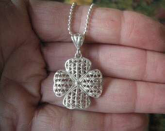 Sterling Silver Lucky 4 Leaf Clover Pendant Chain (685)