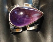Modernist Amethyst Ring Sterling Retro Abstract Vintage