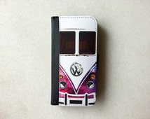 Mini Bus Nebula Wallet Case - iPhone 6 Case, iPhone 6s, iPhone 6 Plus, iPhone 5, iPhone 5s, iPhone 4/4s, Leather Wallet Case, Flip Case