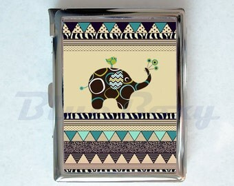 Cute Elephant Aztec Cigarette Case with Lighter, Cigarette Box, Card Holder