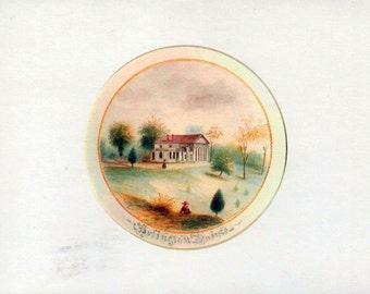 Arlington House Note Card, Unused Blank c1980's art work by Benson J Lossing 1853, Robert E Lee House, Arlington National Cemetery, Virginia