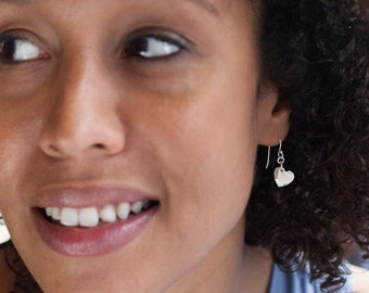 Tiny Facet Heart Earrings