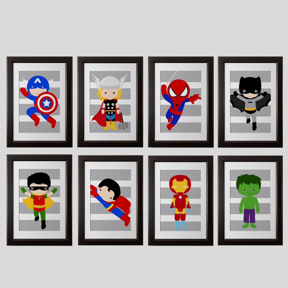 Superheroes Bedroom Superhero Bedroom Wall Decor Prints Gray Stripes Or Any