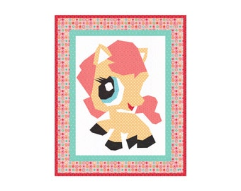 LITTLE PONY Quilt Pattern Instant Download Paper Pieced Quilt Pattern Foundation Pieced Quilt Block Pattern My Little Pony quilt Pattern