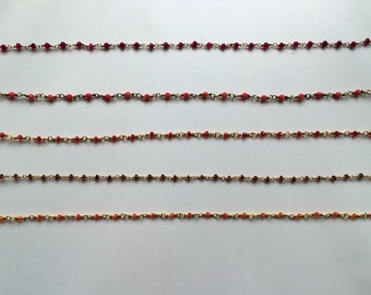 Chain Beaded Choker in Colors red orange  maroon and pink