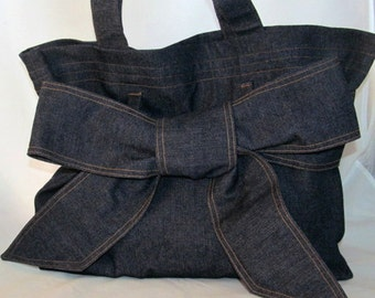 Denim Tote Bag with large Bow (BOW BAG)