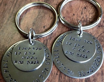 Hand Stamped Personalized Coordinate Keychain