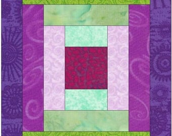Courthouse Steps Log Cabin Paper Piece Foundation Quilting Block Pattern
