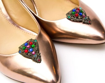 Brass Shoe Clips with Rhinestones