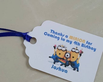Personalized Favor Tags 2 1/2'', Thank You tags, Favor tags, Gift tags, Birthday Party minion