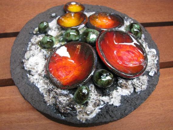 Wandteller 60er jahre d nemark k hlersh j keramik orange - Wandteller modern ...