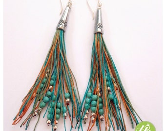 Colorful extra long fringe earrings with turquoise - extra long tassel earrings handmade- long fringe earrings- turquoise chandelier earring