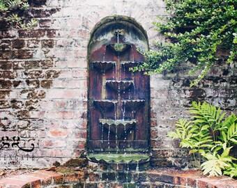 Old Garden Fountain - Photo Print, garden photography, wall fountain, english garden, italian fountain, vintage
