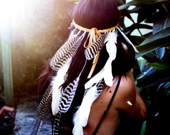 Boheme Feather Headband, Bridal headpiece