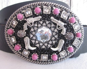 beaded belt buckle women's belt buckle cowgirl boots roses pistols pink stone beads ladies sparkly crystal embellished silver belt buckle