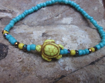 turtle anklet colorful beaded anklet Turquoise yellow white stone sea turtle czech glass beaded stretch anklet bohemian ankle bracelet