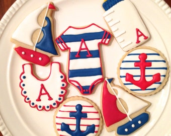 Nautical Baby Shower Cookies | Nautical Baby Shower | Ahoy It's A Boy | One Dozen