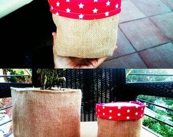 Set of 2 burlap plant basket,fabric plant pot,plant bag,burlap plant bucket,burlap basket,fabric plant bin,handmade basket,plant fashion
