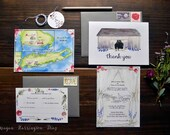 Custom Wedding Invitations - Barn Wedding - Lavender invitations - Long Island Wedding - watercolor wedding stationery