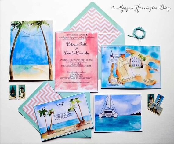 Beach Destination Wedding - Custom Wedding Map - Watercolor Wedding Map - Island Wedding Invtations -  Beach wedding - Key West Wedding