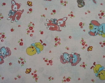 "Half Yard of Lecien Old New 30's Collection Retro Animals Fabric on Salmon Pink Background.  Approx 18"" x 44"" Made in Japan"