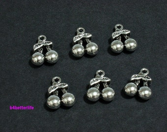 """Lot of 24pcs Antique Silver Tone """"Cherry"""" Double Sided Metal Charms. #JL1211."""