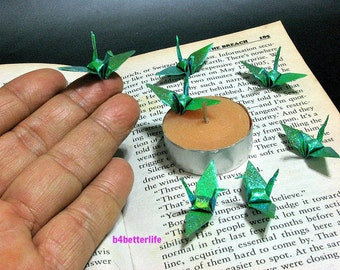 "100pcs Green Color 1.5"" Origami Cranes Hand-folded From 1.5""x1.5"" Square Paper. (TX paper series). #FC15-20."