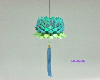 A Piece of Medium Size Blue Color Origami Hanging Lotus. (AV paper series).