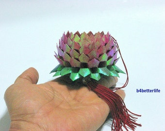 A Piece of Medium Size Maroon Color Origami Hanging Lotus. (TX paper series).