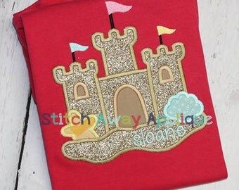 Summer Sand Castle Beach Machine Applique Design