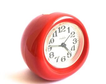 Mid century alarm clock- red Ruhla- Made in GDR