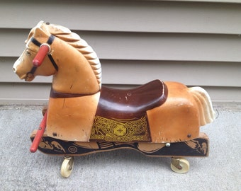 10% OFF SALE Vintage 1960s Palomino Coaster Toy Horse by Rich Toys