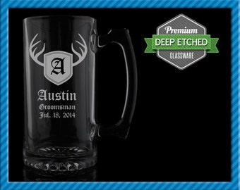 Personalized Beer Mugs, Groomsmen Gift Personalized Deer Antler Monogram 26.5 oz Etched Mugs, Set of 6+