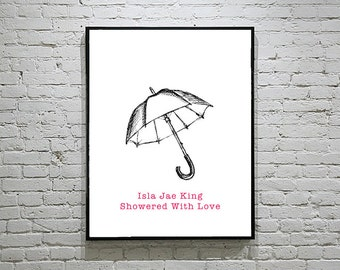 Baby Shower Umbrella Thumbprint Guest Book Fingerprint Alternative Raindrops