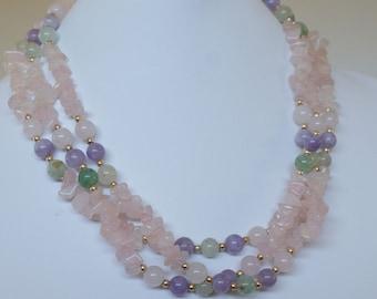Vintage 14k Gold Filled Pink Quartz Amethyst Gold Bead Jade Necklace 102 gms
