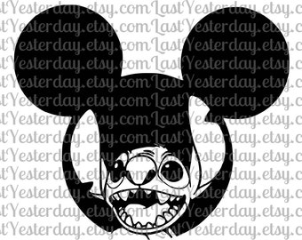 Stitch Mickey Head DIGITAL DOWNLOAD svg dxf jpg png