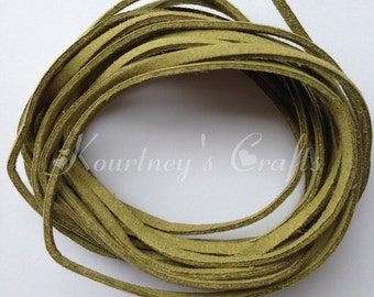 Dark Olive Green Faux Suede Leather Cord Size 3mm 5yards/bundle