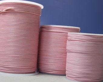 1.8mm round matte finish baby pink leather- 10 meters/32.5 feet