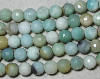 12mm faceted amazonite round large hole bead