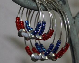 Patriotic hoop earrings