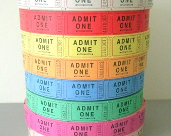 Pick Your Color 100 Admit One Tickets, Mixed Media, Numbered Carnival Tickets, Blank on Back,