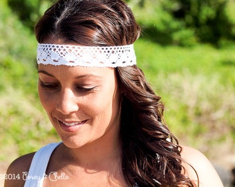 Bohemian Lace Headband, Boho Style Cotton Lace Headband Suitable for Beach Weddings, Festivals or Everyday Wear