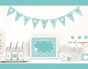 Tiffany Party Package - Something Blue Decorations Starter Kit, Tiffany Bridal Shower Themes, Diamond Ring Party Decorations (EB4000SB)
