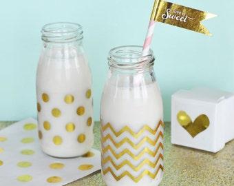 Chevron & Dots Gold Foil Milk Bottle Labels (Set of 24) Shimmering Stickers (EB3035)