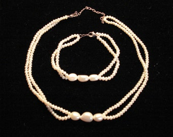 Small Fresh Water Seed Pearl Necklace and Bracelet with Silver Hooks