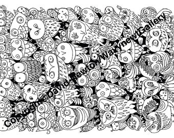 1 Instant PDF Download Hand Drawn Zentangle Inspired 'Mindjunk' Owl Owls Coloring Colouring Page Abstract Zendoodle Black and White Drawing
