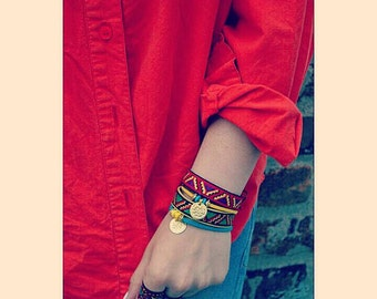 Embroidered Sari Silk Charm Bracelet